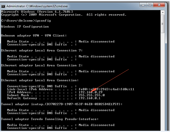 ipconfig output