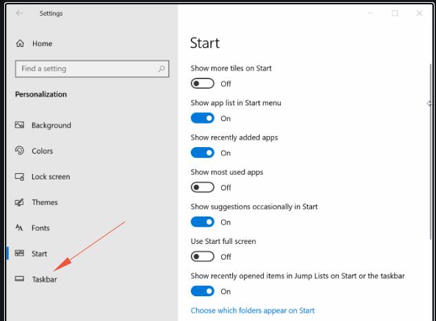windows-10 taskbar