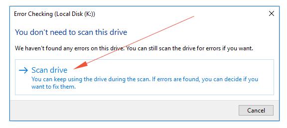 windows chkdsk scan