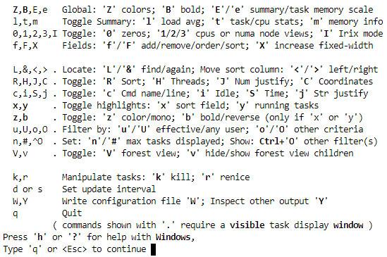 linux top help