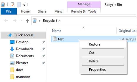 windows recycle restore